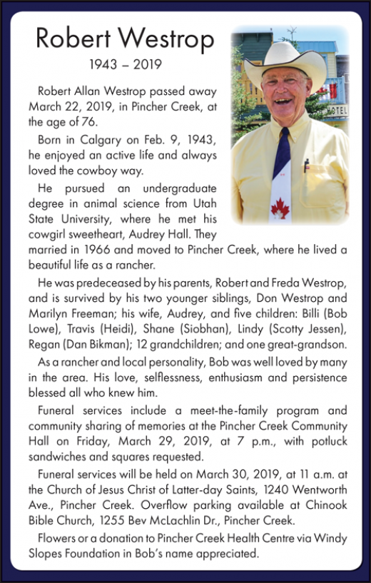 Obituary for Bob Westrop
