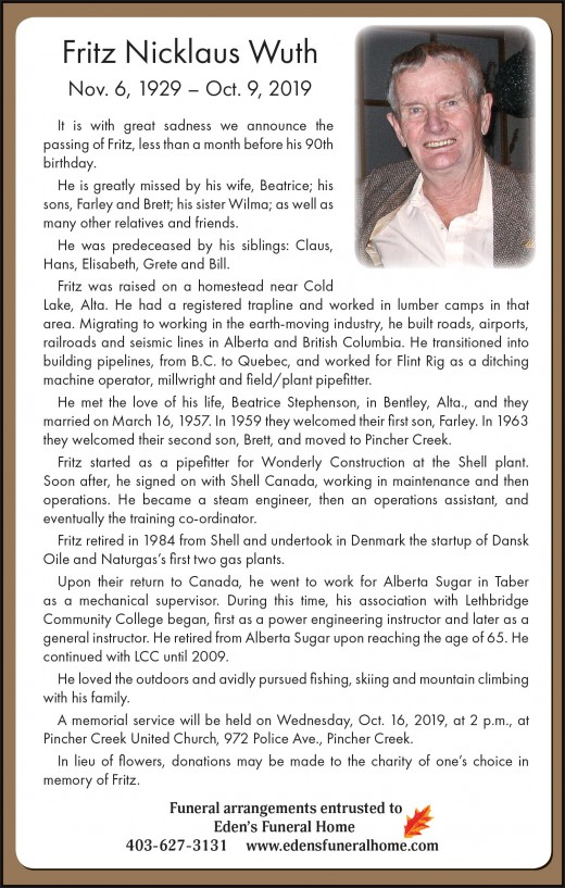 Obituary for Fritz Wuth