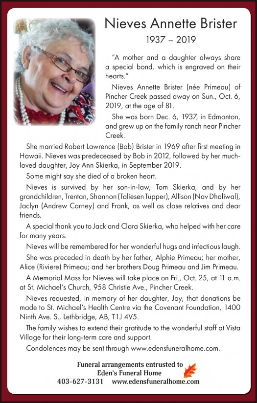 Obituary for Nieves Brister