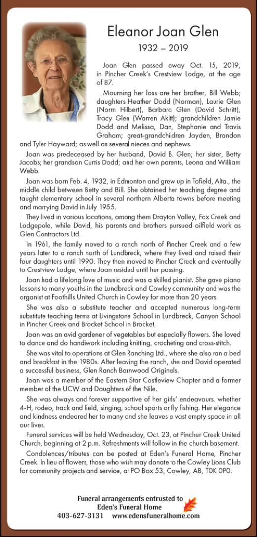 Obituary for Eleanor Joan Glen