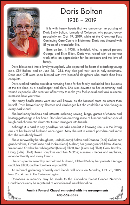 Obituary for Doris Bolton