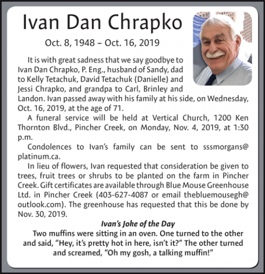 Obituary for Ivan Chrapko