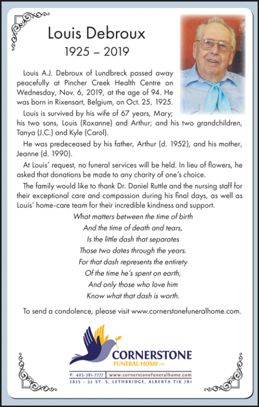 Obituary for Louis Debroux