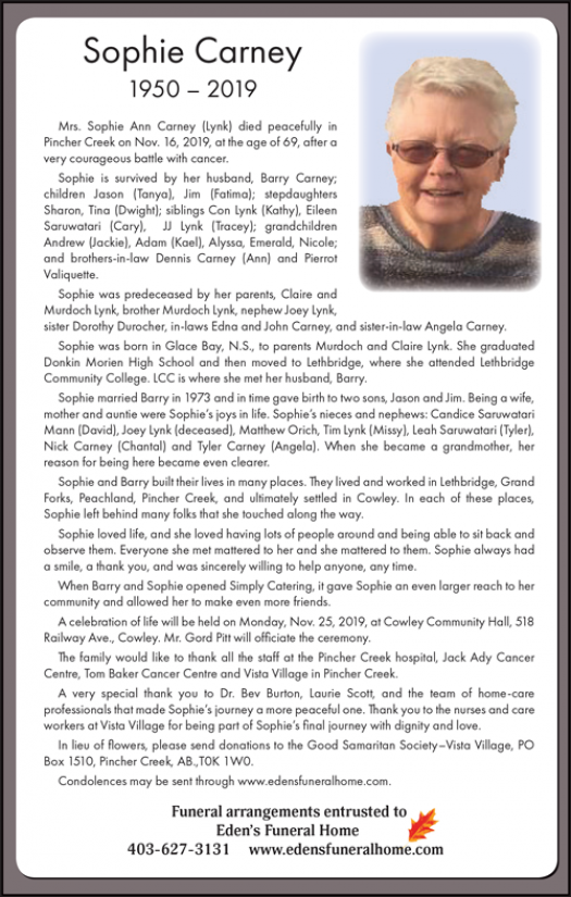 Obituary for Sophie Carney