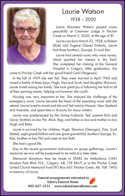 Obituary for Laurie Watson
