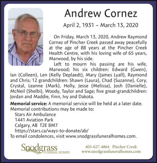 Obituary for Andrew Cornez