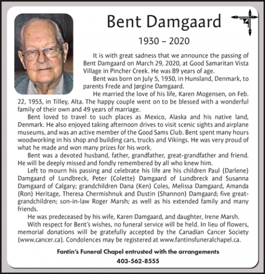Obituary for Bent Damgaard