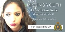Lenny Brave Rock missing from Fort Macleod