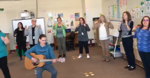 Crowsnest Pass teachers sing for their kids